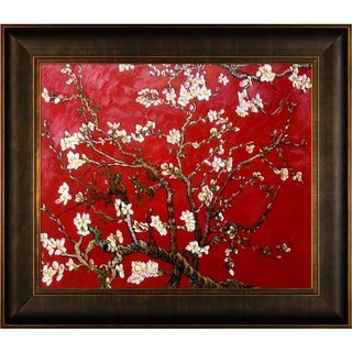 Van Gogh 'Branches Of An Almond Tree In Blossom (Red)' Hand-painted Framed Canvas Art