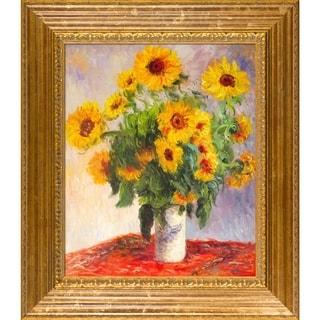 Monet 'Sunflowers' Hand-painted Framed Canvas Art