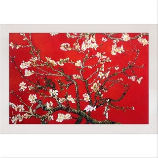 Van Gogh 'Branches Of An Almond Tree In Blossom (Red)' Framed Canvas Art