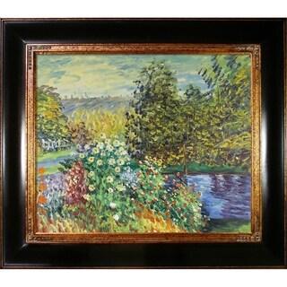 Monet 'Corner of the Garden at Montgeron' Hand-painted Framed Canvas Art