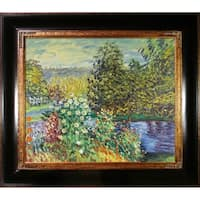 Monet 'Corner of the Garden at Montgeron' Hand-painted Framed Canvas Art