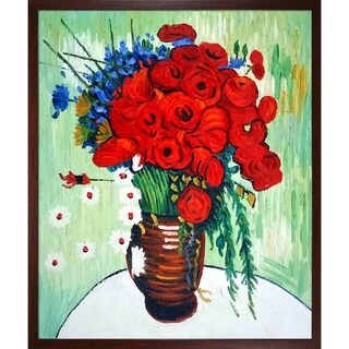 Van Gogh 'Vase with Daisies and Poppies' Hand-painted Framed Canvas Art