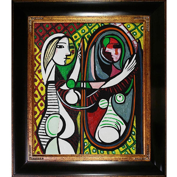 pablo picasso 39 girl before a mirror 39 hand painted framed art print free shipping today. Black Bedroom Furniture Sets. Home Design Ideas