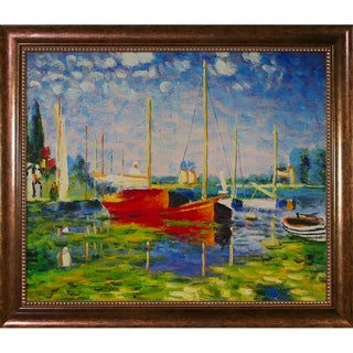 Monet 'Red Boats at Argenteuil' Hand-painted Framed Canvas Art