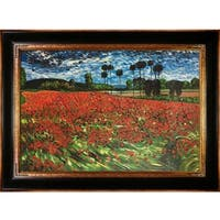 Van Gogh 'Field of Poppies' Hand-painted Framed Canvas Art