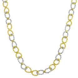 Fremada 14k Two-tone Gold Diamond-cut Ball Link Necklace