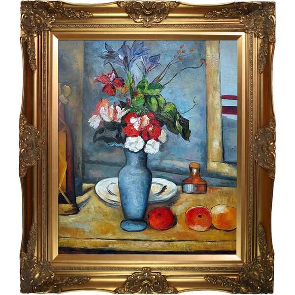 Cezanne 'La Vase Bleu' Hand-painted Framed Canvas Art
