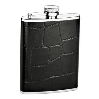 Black Croc Embossed 6-oz Leather Flask