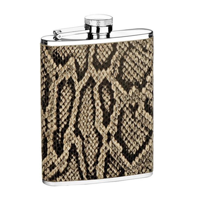 Durable Stainless Steel Snakeskin Six-ounce Genuine Leather Flask