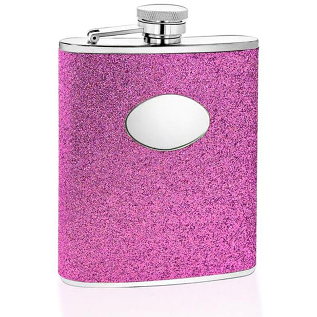 Purple Glitter Engravable Oval Badge 6-oz Stainless Steel Flask
