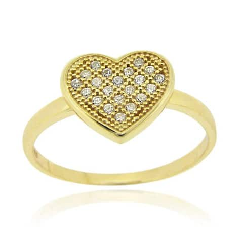 Icz Stonez 18k Gold over Sterling Silver Micro Pave Cubic Zirconia Heart Ring