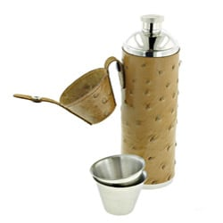 Leather 10-ounce Tube Flask with Two Shot Cups - Thumbnail 1
