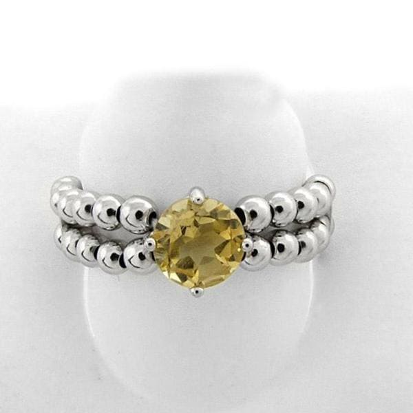 Dolce Giavonna Sterling Silver Citrine Beaded Stretch Ring