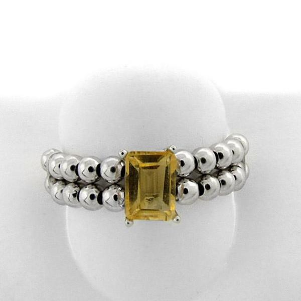Dolce Giavonna Sterling Silver Emerald-cut Citrine Beaded Stretch Ring