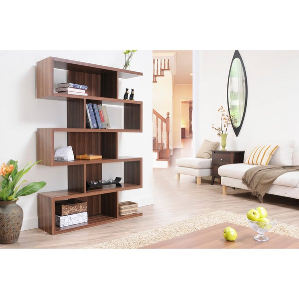 Shop Furniture of America Karrise Walnut Display Shelf Bookcase