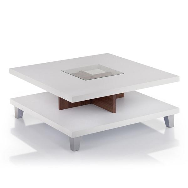 Furniture of America Helena White and Walnut 2-Leveled Coffee Table