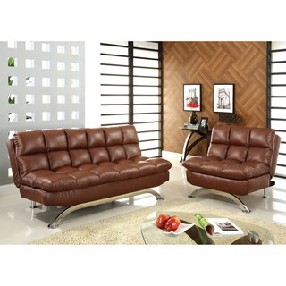 Furniture of America Kyle Mid Century Modern 2-Piece Leather Futon Sofa Set
