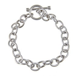 Sterling Essentials Rhodium Plated Silver Toggle Bracelet