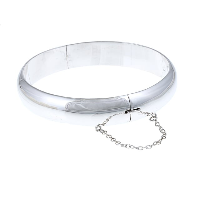 Sterling Essentials Rhodium Plated Silver Wide Polished Bangle