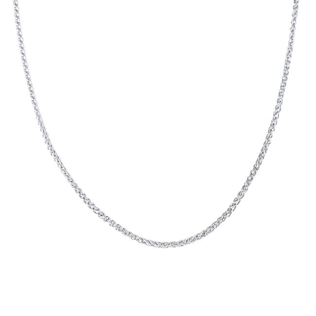 Rhodium Plated Sterling Silver 20-inch Wheat Chain