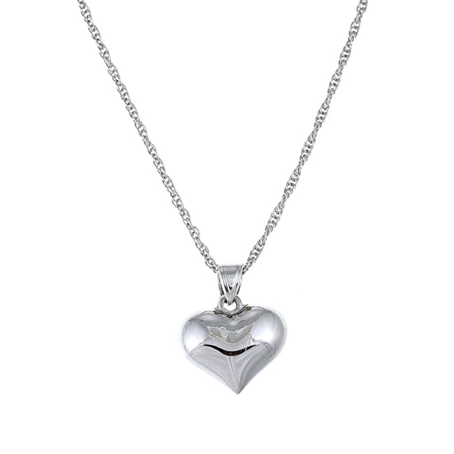 Sterling Essentials Rhodium Plated Silver 18-inch Puffed Heart Necklace
