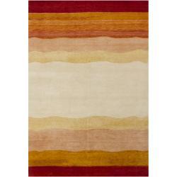 Hand-knotted Mandara New Zealand Wool Rug (6'6 x 9'9) - Thumbnail 1