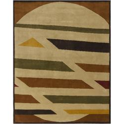 Hand-Knotted Contemporary Mandara New Zealand Wool Rug (8' x 10') - Thumbnail 2