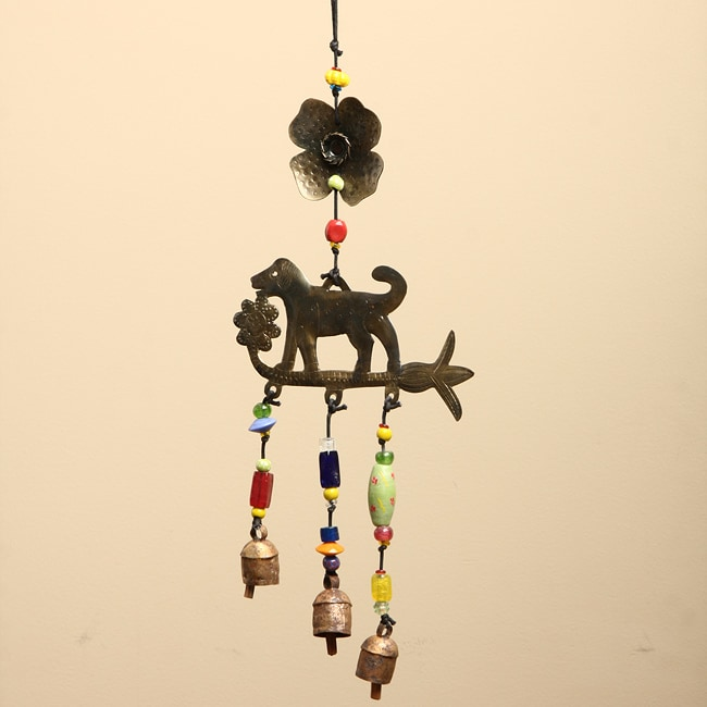 Handmade Iron and Glass Dog Chasing Flowers Hanging Art (India) - Thumbnail 0