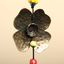 Handmade Iron and Glass Dog Chasing Flowers Hanging Art (India) - Thumbnail 1