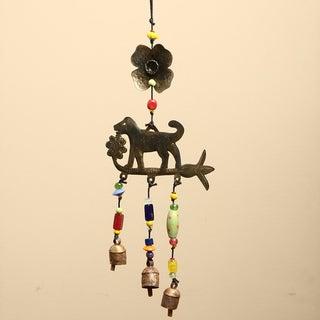 Handmade Iron and Glass Dog Chasing Flowers Hanging Art (India)
