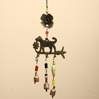 Handmade Iron and Glass Dog Chasing Flowers Hanging Art (India)
