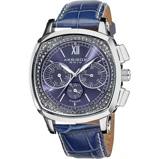 Akribos XXIV Men's Multifunction Diamond Swiss Quartz Square Blue Strap Watch