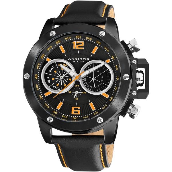 Akribos XXIV Men's Black Multifunction Stainless Steel Swiss Quartz Strap Watch with Orange Dial Markings