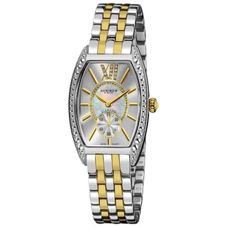Akribos XXIV Women's Yellow/Stainless Steel Diamond Swiss-Quartz Tonneau-Two-Tone Bracelet Watch