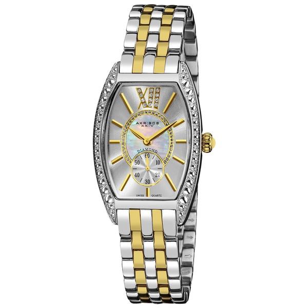 Akribos XXIV Women's Yellow/Stainless Steel Diamond Swiss-Quartz Tonneau-Two-Tone Bracelet Watch with FREE GIFT