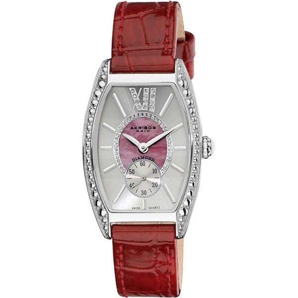 Akribos XXIV Women's Diamond Swiss Quartz Tonneau Red Strap Watch