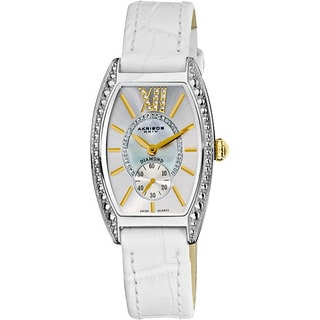 Akribos XXIV Women's Diamond Swiss Quartz Tonneau White Strap Watch with GIFT BOX