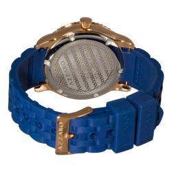 Azzaro Men's 'Coastline' Rose PVD Blue Rubber Strap Watch