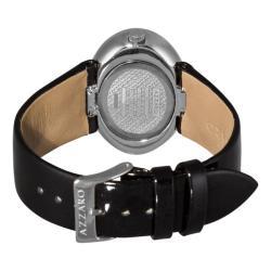 Azzaro Women's 'Sparkling' Silver-Dial Black-Strap Watch - Thumbnail 1
