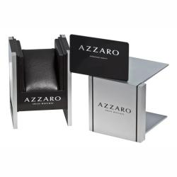 Azzaro Women's 'Sparkling' Silver-Dial Black-Strap Watch - Thumbnail 2