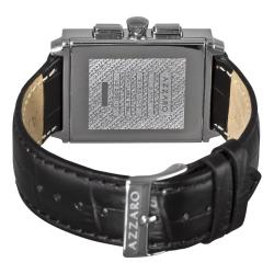 Azzaro Men's 'Legend Rectangular Chrono' Black Strap Retrograde Watch - Thumbnail 1