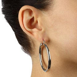 Rhodium Plated Sterling Silver Polished Hoop Earrings - Thumbnail 2