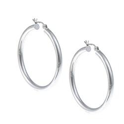 Rhodium Plated Sterling Silver Polished Hoop Earrings