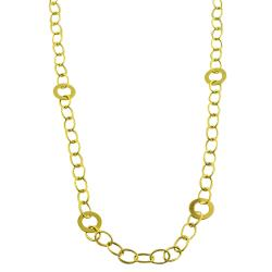 Fremada 14k Yellow Gold Polished Oval Link Station Necklace
