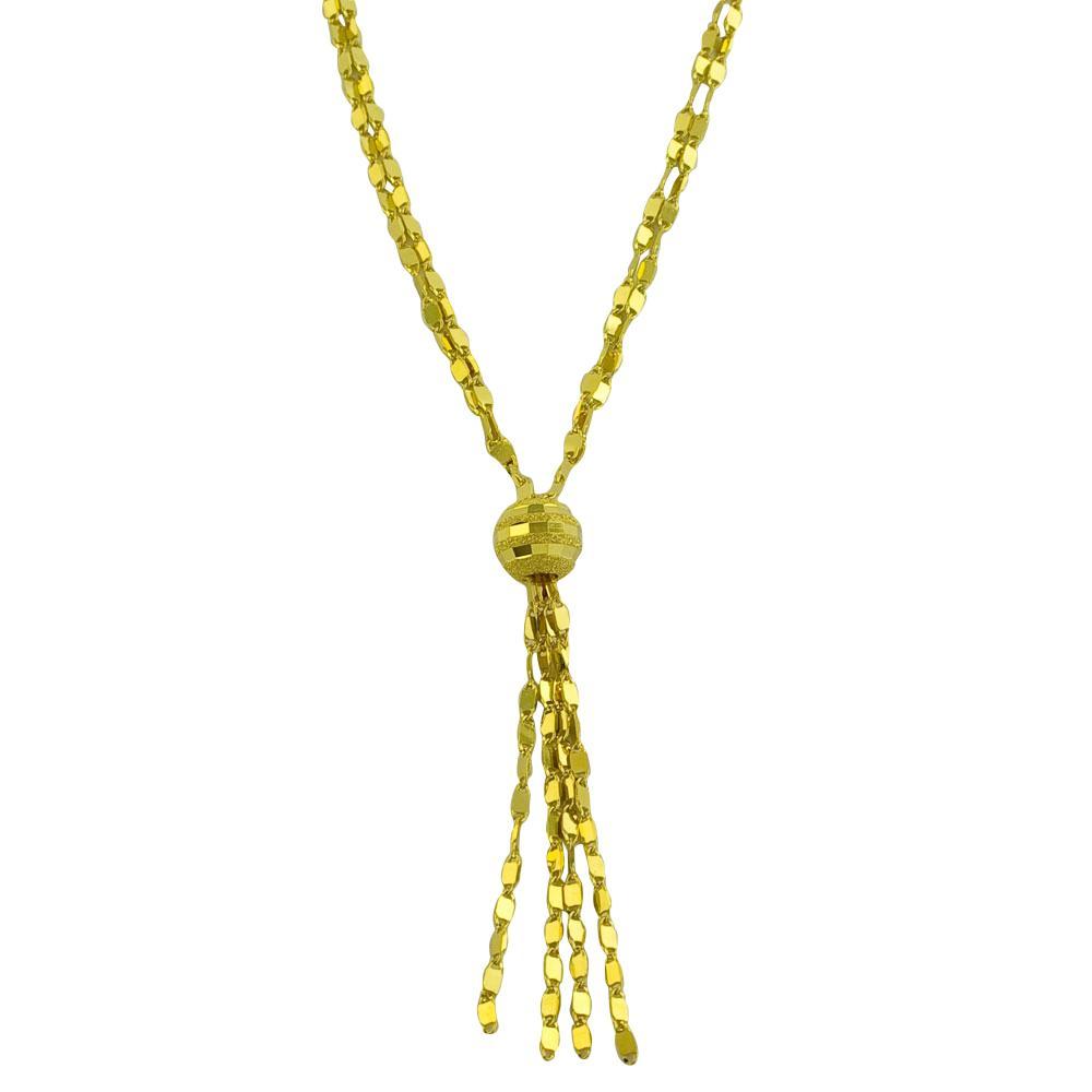 Fremada 14k Yellow Gold 2-strand Tab Link Lariat Necklace