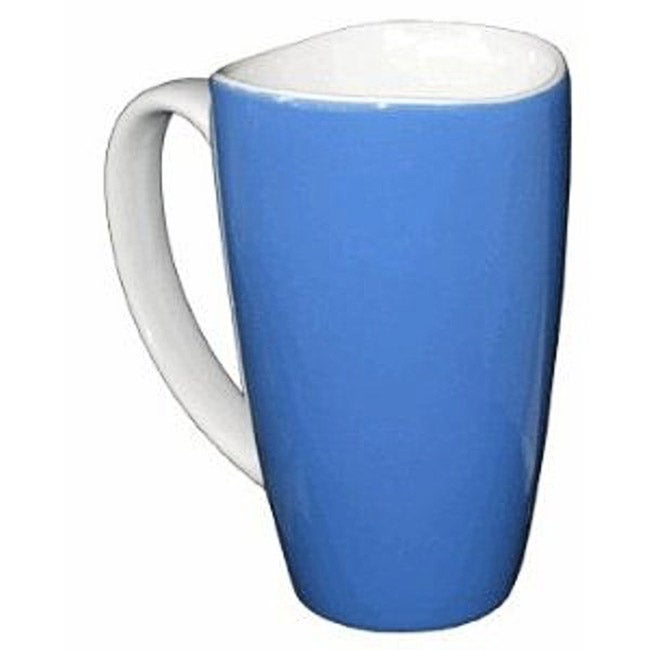 Blue Wavy Rim 17.5-oz Ceramic Mugs (Set of 4)