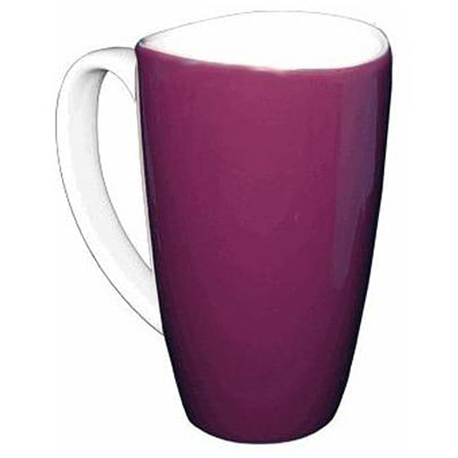 Wavy Rim Ceramic 17.5-oz Purple Mugs (Pack of 4)