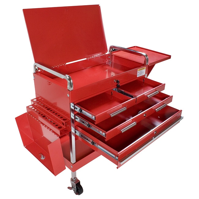 Arcan Red Powder-Coated Steel Tool Service Cart