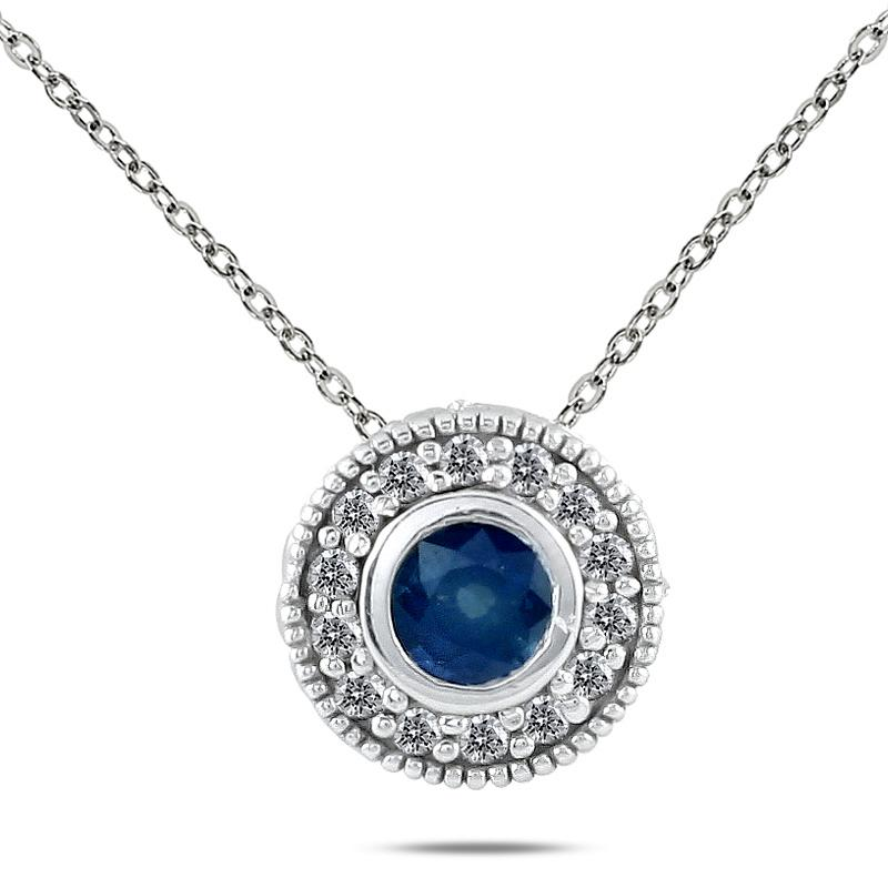 Marquee Jewels 10k White Gold Sapphire and 1/6ct TDW Diamond Necklace (I-J, I1-I2)