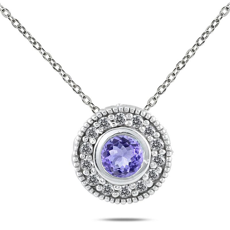 Marquee Jewels 10k White Gold Tanzanite and 1/6ct TDW Diamond Necklace (I-J, I1-I2)